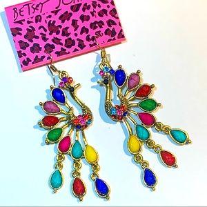 Betsey Johnson Style - Colorful Peacock Earrings